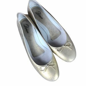 DELMAN SHOES FLATS GOLD FROSTED WITH BOX